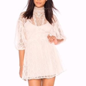 Free People Boho Lace Cream Crochet Lace Dress 6